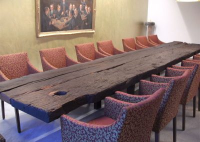 Reference oak wood | reclaimed wood oak wine press conference table made by Performa