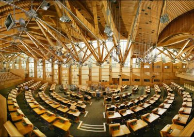 Reference wood oak | Scottish Parliament Major project for our company with many truckloads of finest Spessartan oak to Scotland.